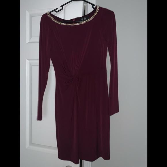 Jessica Simpson wine colored dress